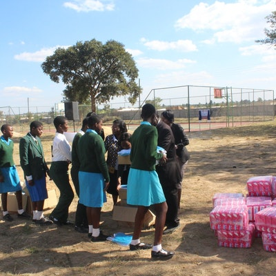 Girls receive sanitary pads